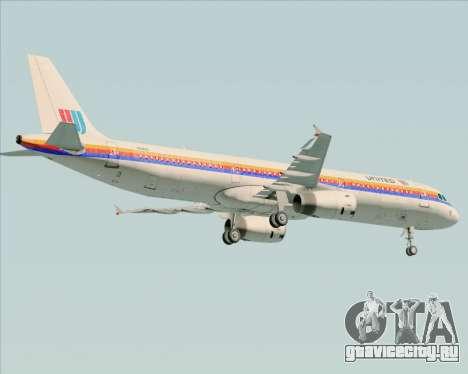 Airbus A321-200 United Airlines для GTA San Andreas вид снизу