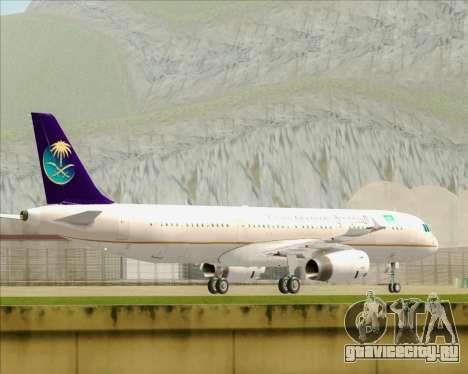 Airbus A321-200 Saudi Arabian Airlines для GTA San Andreas вид сзади слева