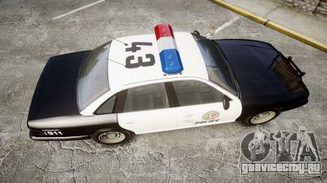 Vapid Police Cruiser MX7000 для GTA 4 вид справа