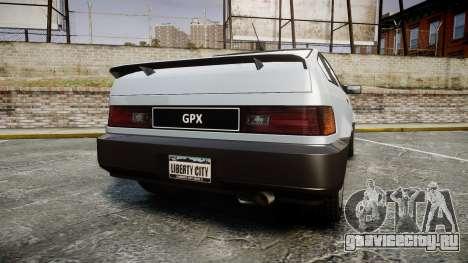 Dinka Blista Compact GPX для GTA 4 вид сзади слева