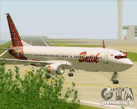 Boeing 737-800 Batik Air для GTA San Andreas вид сзади