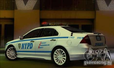 Ford Fusion NYPD v2.0 для GTA San Andreas вид слева