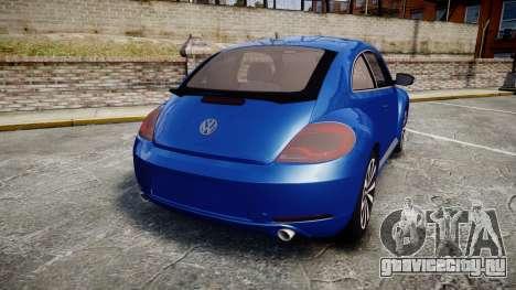 Volkswagen Beetle A5 Fusca для GTA 4 вид сзади слева