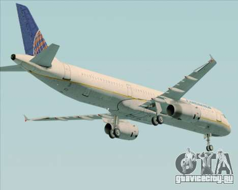 Airbus A321-200 Continental Airlines для GTA San Andreas вид справа