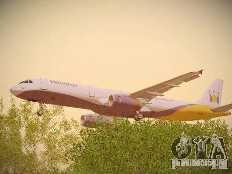 Airbus A321-232 Monarch Airlines для GTA San Andreas вид изнутри