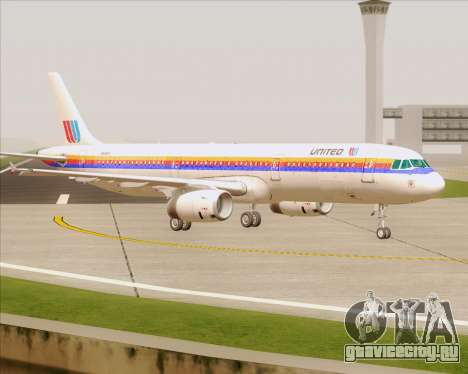 Airbus A321-200 United Airlines для GTA San Andreas вид сверху