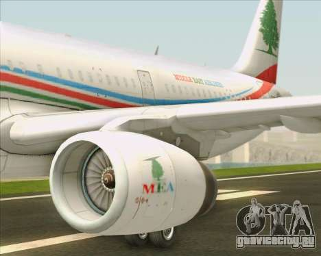 Airbus A321-200 Middle East Airlines (MEA) для GTA San Andreas двигатель