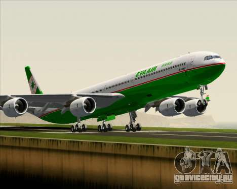 Airbus A340-600 EVA Air для GTA San Andreas вид изнутри