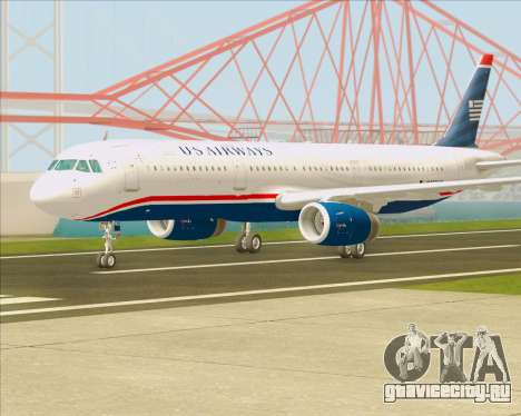 Airbus A321-200 US Airways для GTA San Andreas вид сзади слева