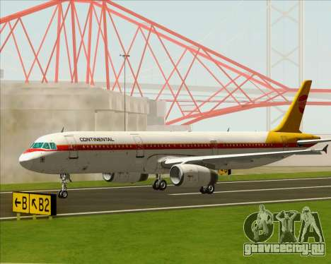 Airbus A321-200 Continental Airlines для GTA San Andreas вид справа