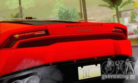 Lamborghini Huracan 2014 Type 2 для GTA San Andreas вид сзади слева
