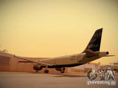 Airbus A321-232 jetBlue Airways для GTA San Andreas вид сзади слева