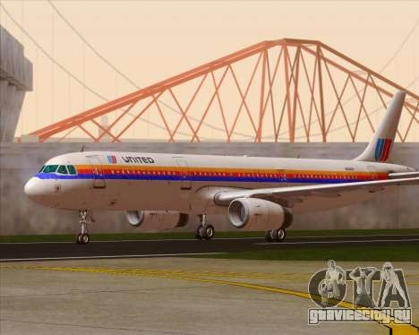 Airbus A321-200 United Airlines для GTA San Andreas вид слева
