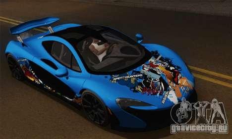 McLaren P1 Black Revel для GTA San Andreas вид сзади
