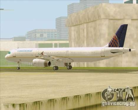 Airbus A321-200 Continental Airlines для GTA San Andreas вид сзади слева