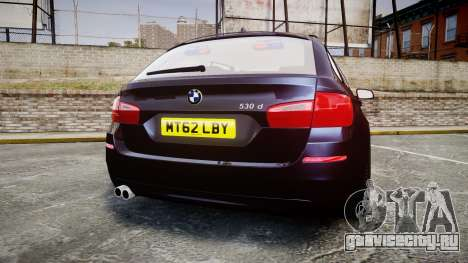 BMW 530d F11 Unmarked Police [ELS] для GTA 4 вид сзади слева
