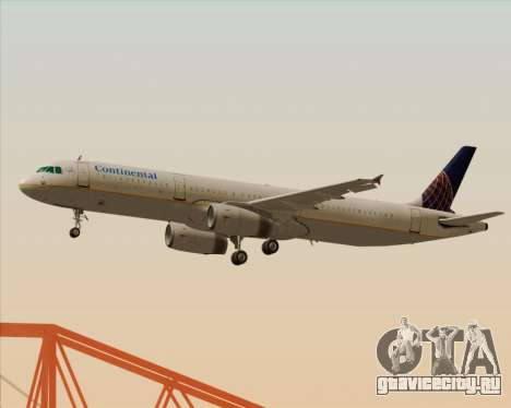 Airbus A321-200 Continental Airlines для GTA San Andreas вид сзади