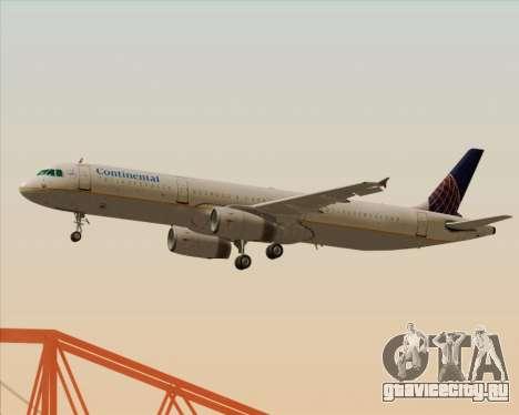 Airbus A321-200 Continental Airlines для GTA San Andreas вид сзади