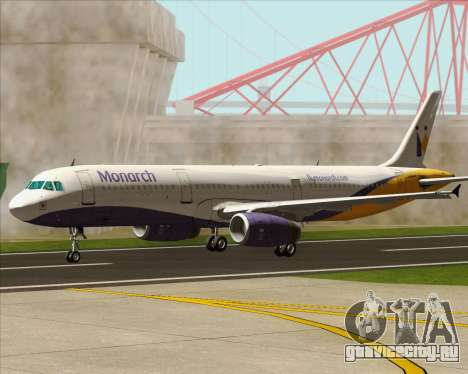 Airbus A321-200 Monarch Airlines для GTA San Andreas вид сверху