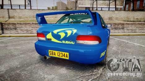 Subaru Impreza WRC 1998 World Rally v3.0 Green для GTA 4 вид сзади слева