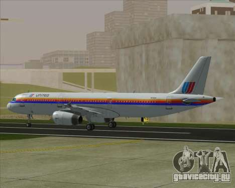 Airbus A321-200 United Airlines для GTA San Andreas вид сзади