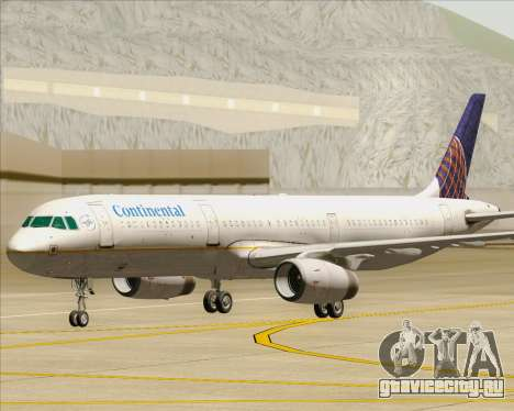 Airbus A321-200 Continental Airlines для GTA San Andreas вид сверху