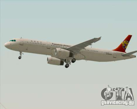 Airbus A321-200 TransAsia Airways для GTA San Andreas вид сзади слева