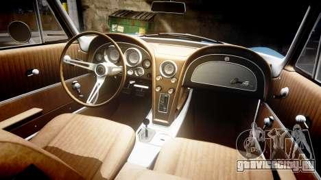 Chevrolet Corvette Stingray 1963 v2.0 для GTA 4 вид изнутри