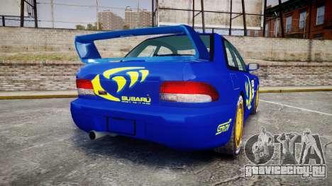 Subaru Impreza WRC 1998 Rally v2.0 Yellow для GTA 4 вид сзади слева