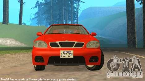 Daewoo Lanos Sport 2001 г. США для GTA San Andreas вид сверху