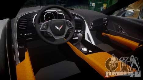 Chevrolet Corvette C7 Stingray 2014 v2.0 TireBr2 для GTA 4 вид изнутри