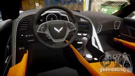 Chevrolet Corvette Z06 2015 TireCon для GTA 4 вид изнутри