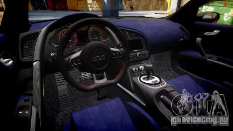 Audi R8 V10 Plus 2013 Vossen VVS CV3 для GTA 4 вид изнутри