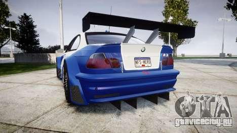 BMW M3 E46 GTR Most Wanted plate NFS-Hero для GTA 4 вид сзади слева