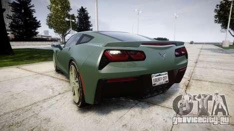 Chevrolet Corvette C7 Stingray 2014 v2.0 TirePi2 для GTA 4 вид сзади слева