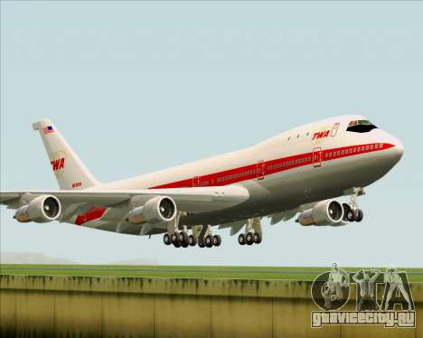 Boeing 747-100 Trans World Airlines (TWA) для GTA San Andreas вид сзади слева