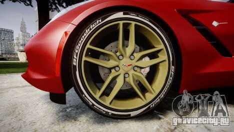 Chevrolet Corvette C7 Stingray 2014 v2.0 TireBFG для GTA 4 вид сзади