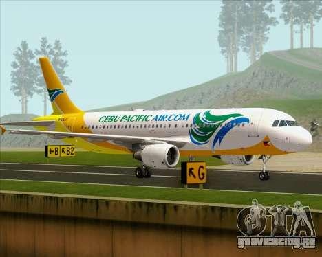 Airbus A320-200 Cebu Pacific Air для GTA San Andreas вид сзади слева