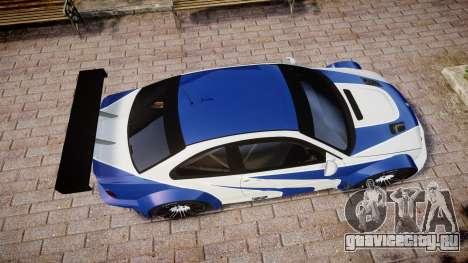 BMW M3 E46 GTR Most Wanted plate NFS Carbon для GTA 4 вид справа