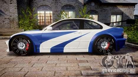 BMW M3 E46 GTR Most Wanted plate NFS Carbon для GTA 4 вид слева