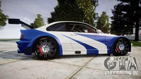 BMW M3 E46 GTR Most Wanted plate NFS-Hero для GTA 4 вид слева