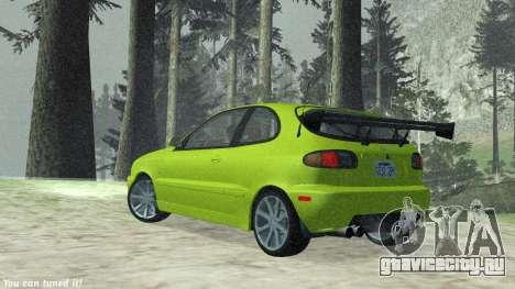 Daewoo Lanos Sport 2001 г. США для GTA San Andreas вид изнутри