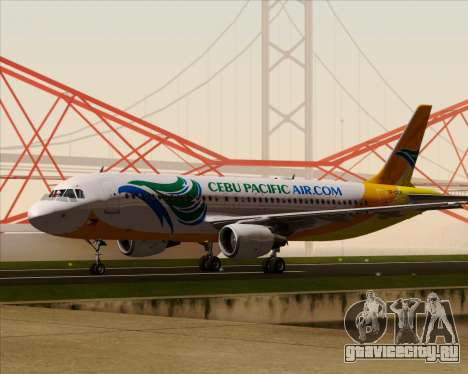 Airbus A320-200 Cebu Pacific Air для GTA San Andreas вид сверху