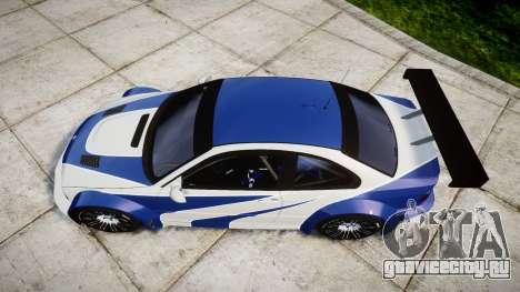 BMW M3 E46 GTR Most Wanted plate NFS-Hero для GTA 4 вид справа