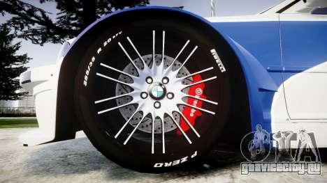 BMW M3 E46 GTR Most Wanted plate NFS Carbon для GTA 4 вид сзади
