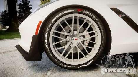 Chevrolet Corvette Z06 2015 TireYA1 для GTA 4 вид сзади