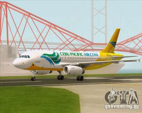 Airbus A319-100 Cebu Pacific Air для GTA San Andreas вид сзади слева