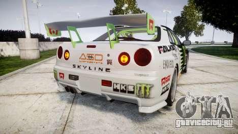 Nissan Skyline R34 GT-R V-Spec [RIV] для GTA 4 вид сзади слева