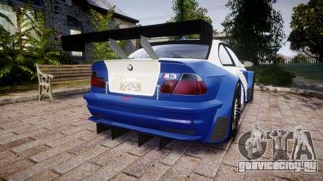 BMW M3 E46 GTR Most Wanted plate NFS Carbon для GTA 4 вид сзади слева