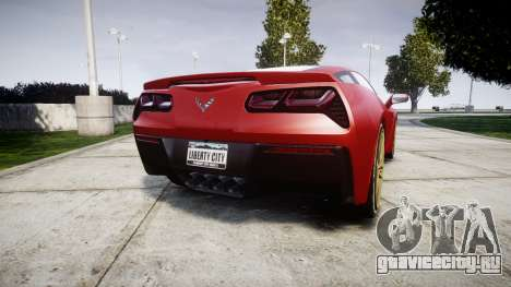 Chevrolet Corvette C7 Stingray 2014 v2.0 TireBFG для GTA 4 вид сзади слева